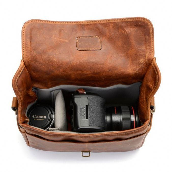 Leather bowery camera bag classic DSLR camera bag