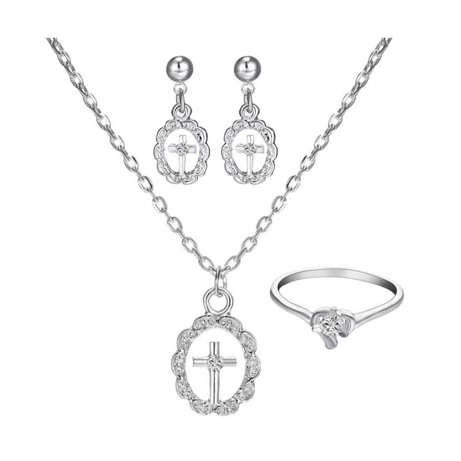 Virgin Mary cross design wholesale brass necklace jewelry set