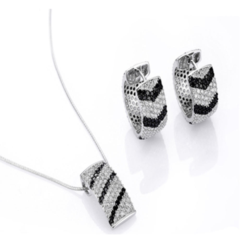 Black and clear cz pave setting 925 silver jewellery set