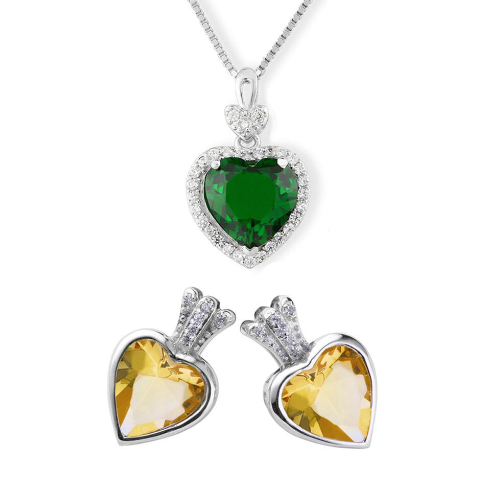 Beauty silver fashion heart stone bridal jewelry sets