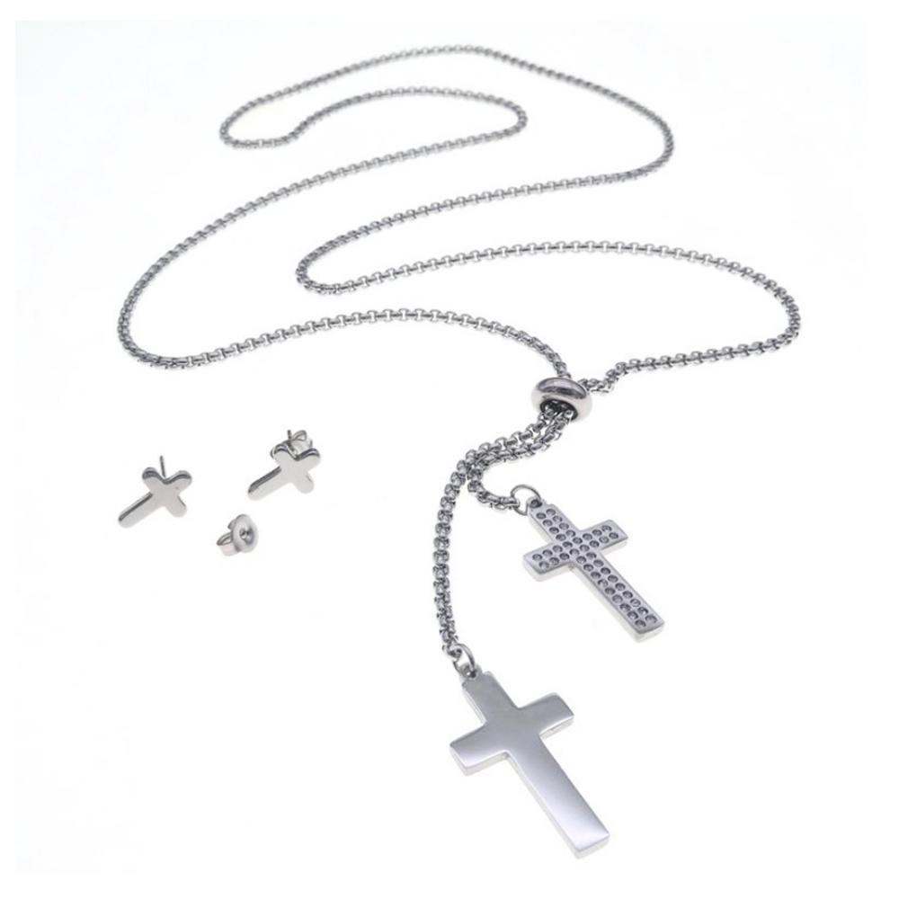 Beads chain design special cross stainless steel jewelry set