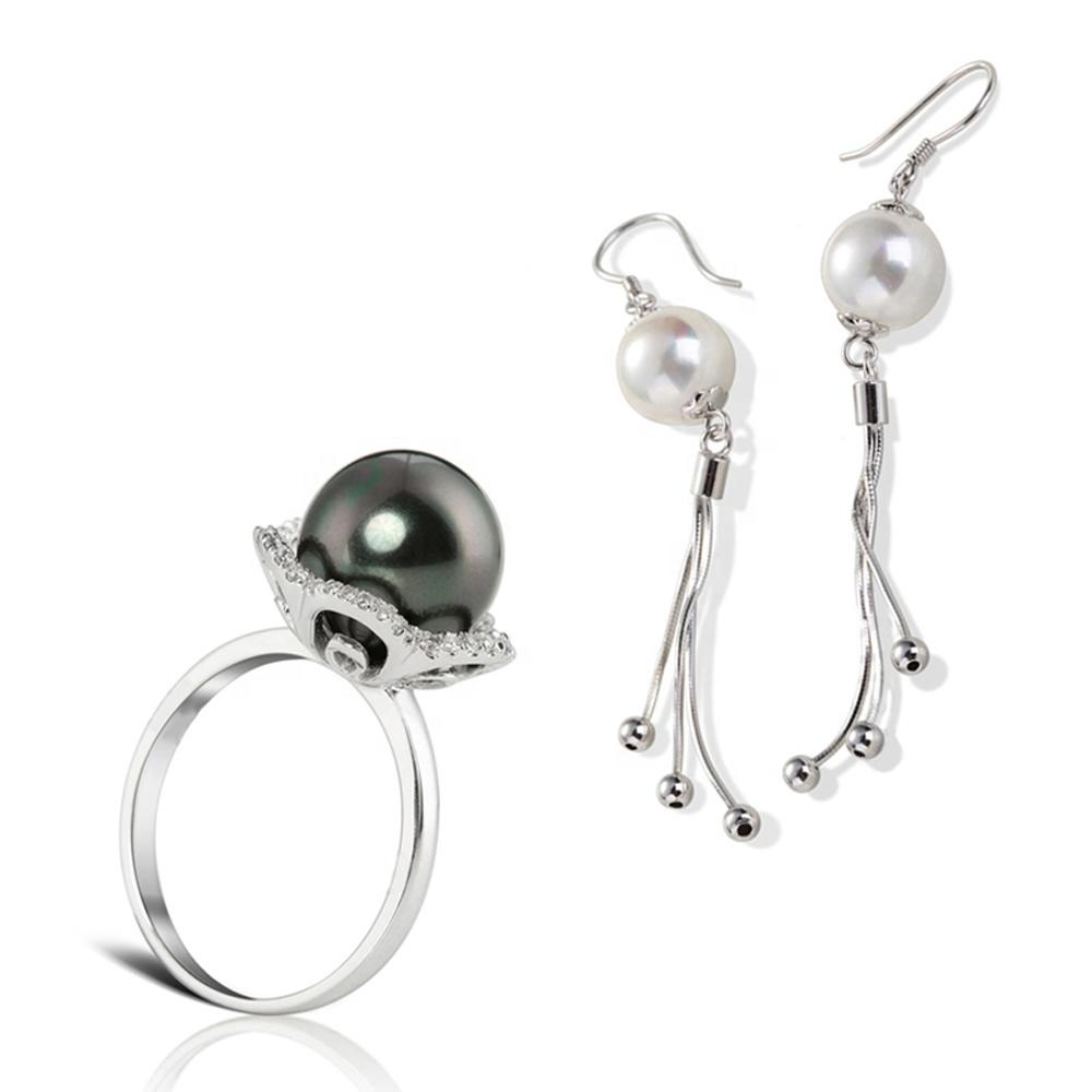 Flower Design Silver Black Pearl Fashion Costume Jewellery Set