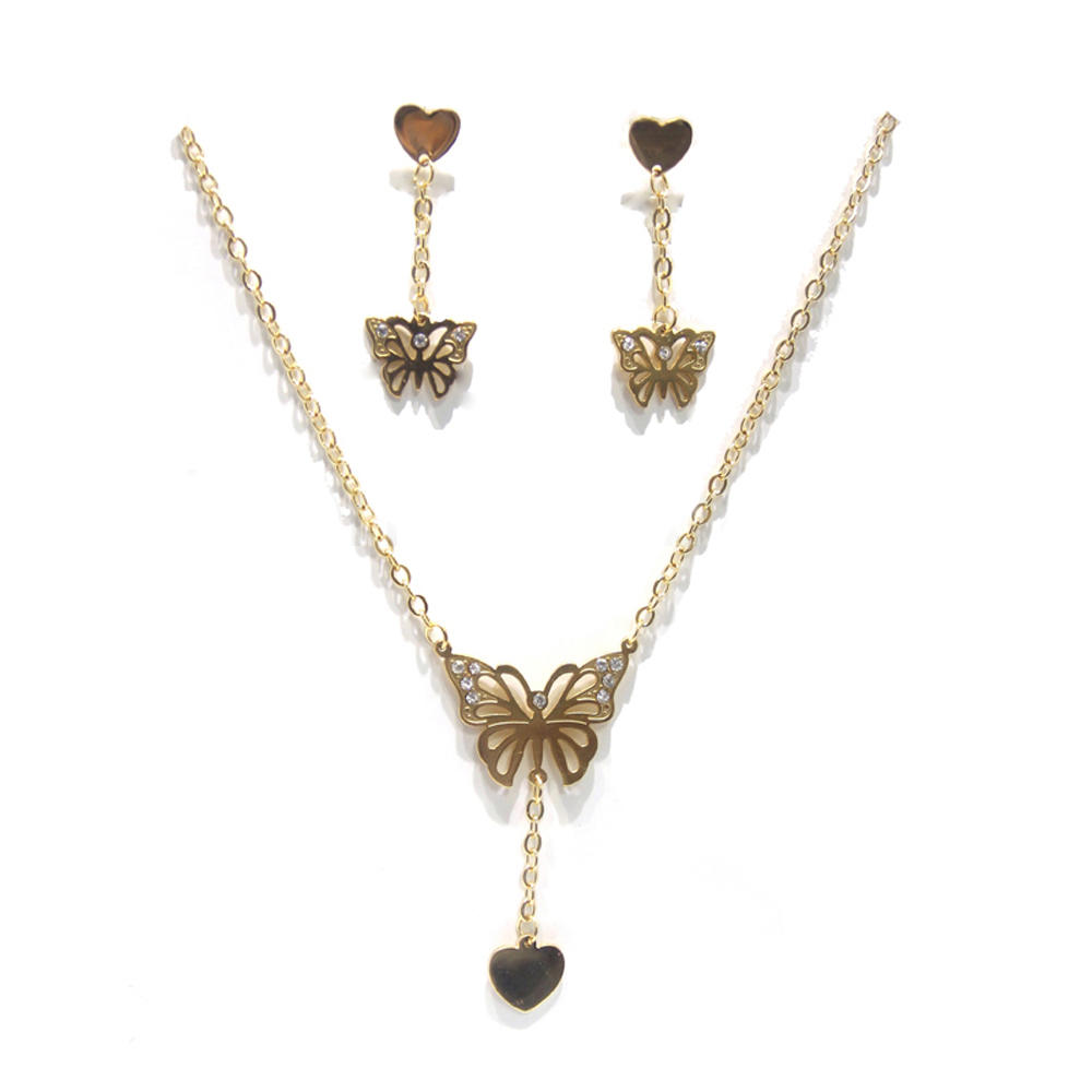 Fancy butterfly young girl earring dubai gold jewelry set