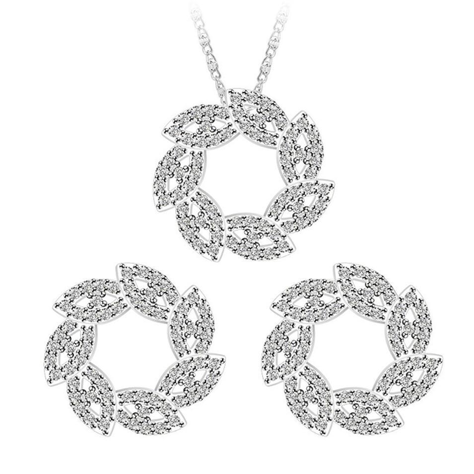 Christmas gifts silver leaf circle large gemstone jewelry set