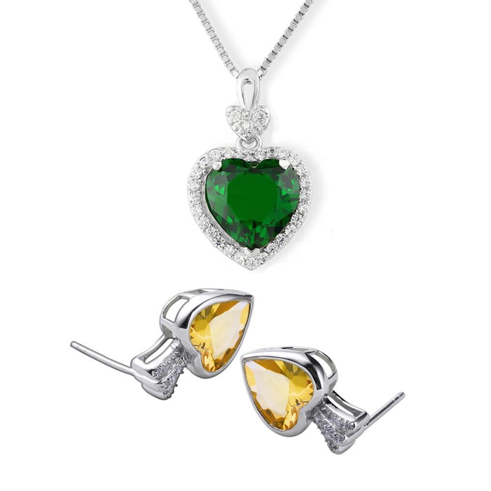 Fashion Heart Shape 925 Silver Pendant Rhinestone Wedding Jewelry