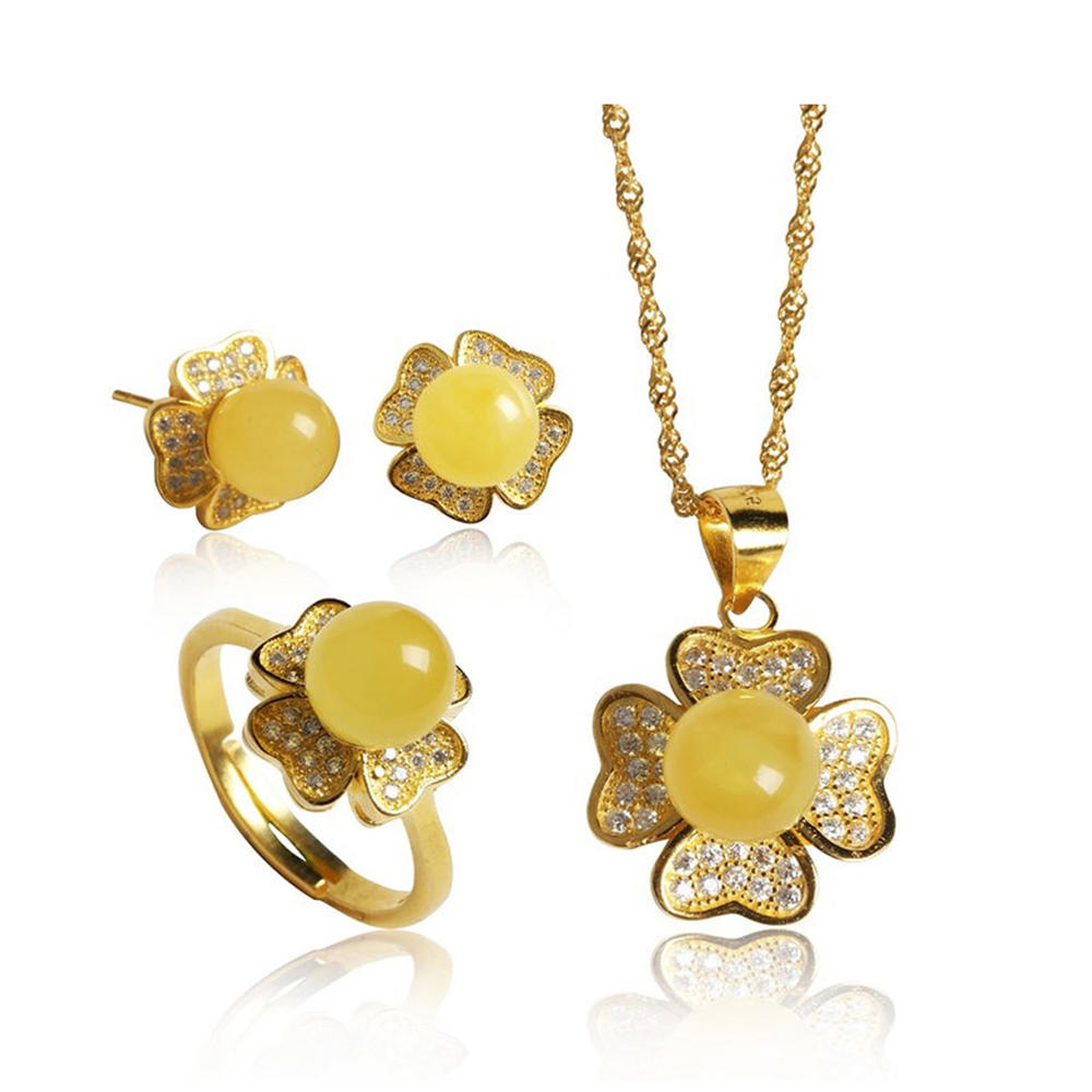 Brilliant cz flower design 925 sterling silver jewelry set