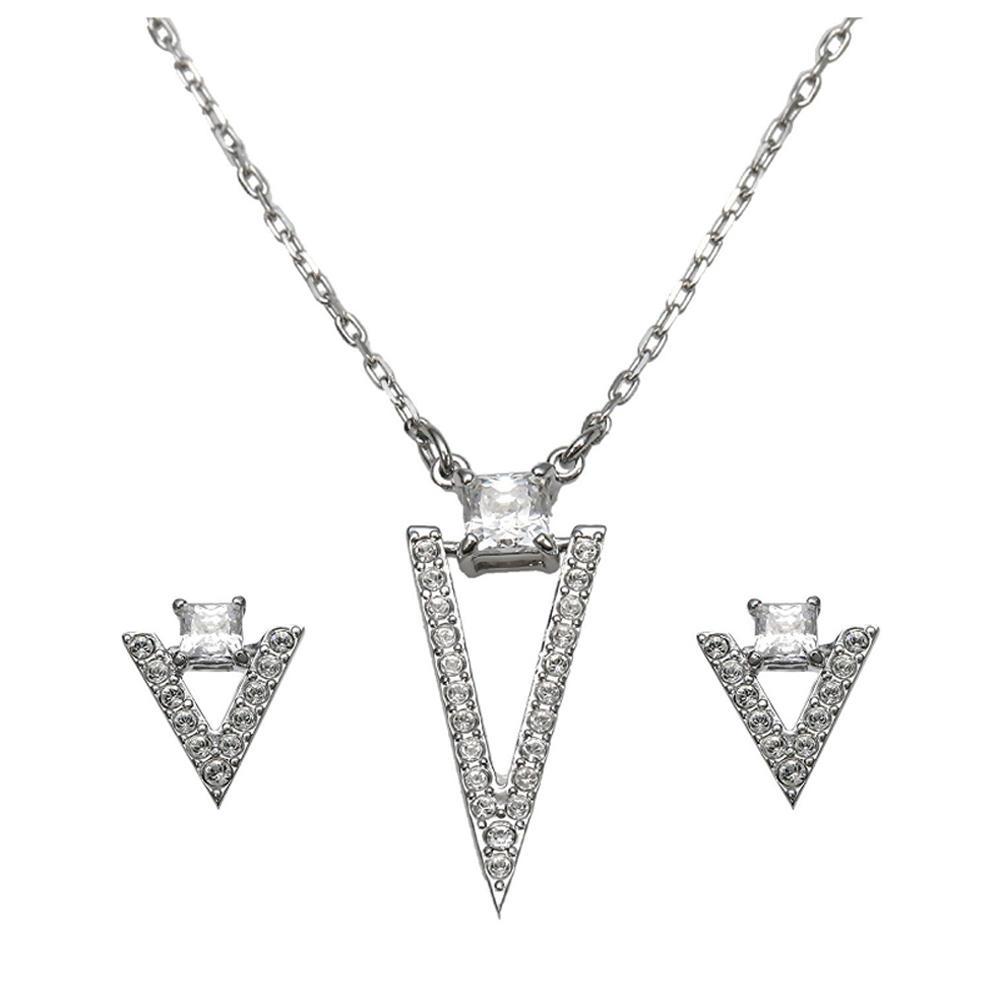 Triangle Shape Cubic Zirconia Silver Designer White Gold Set