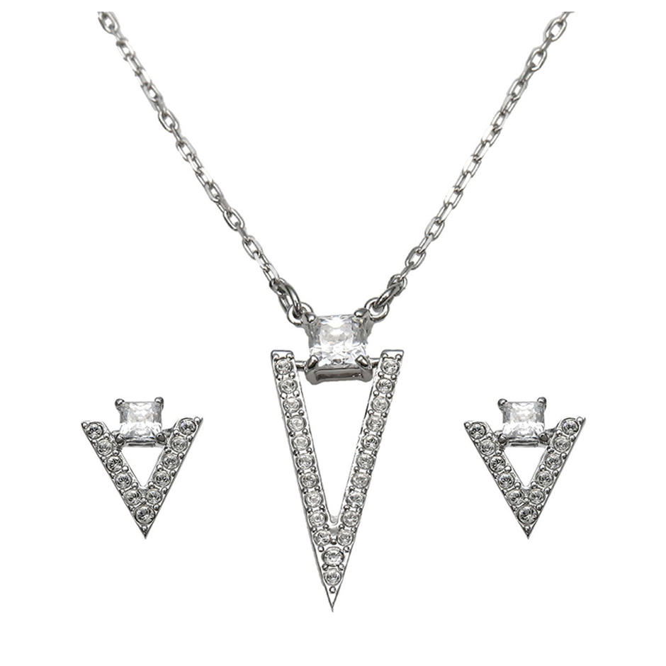 Triangle Shape Cubic Zirconia Silver Designer White Gold Set