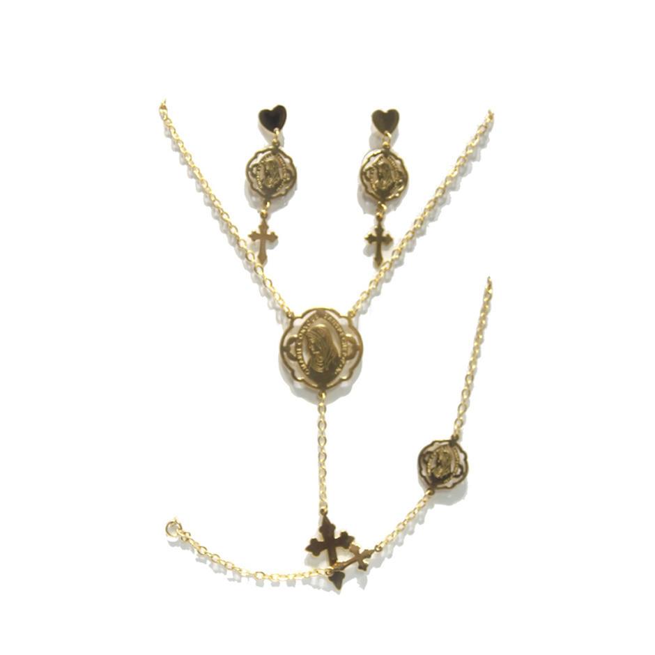 Gold plated crucifix decor brass big fashion jewelry set