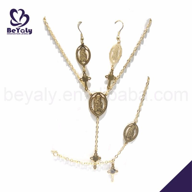 Gold Plated Cross Charm Costume Stainless Steel Set Jewelry