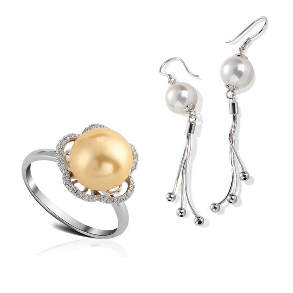 925 Silver Fashion Flower Pearl Jewel Set Ring And Earrings