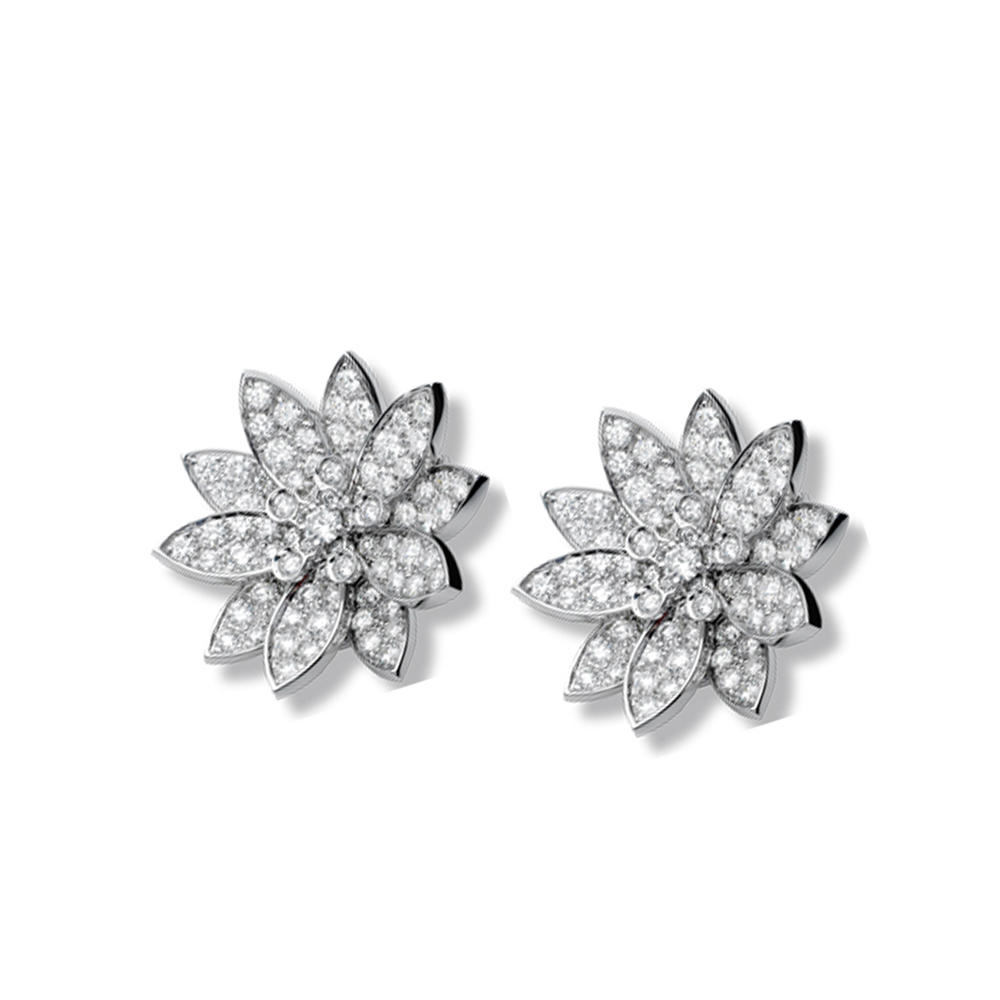 Wholesale brilliant flower cz silver wedding jewelry sets