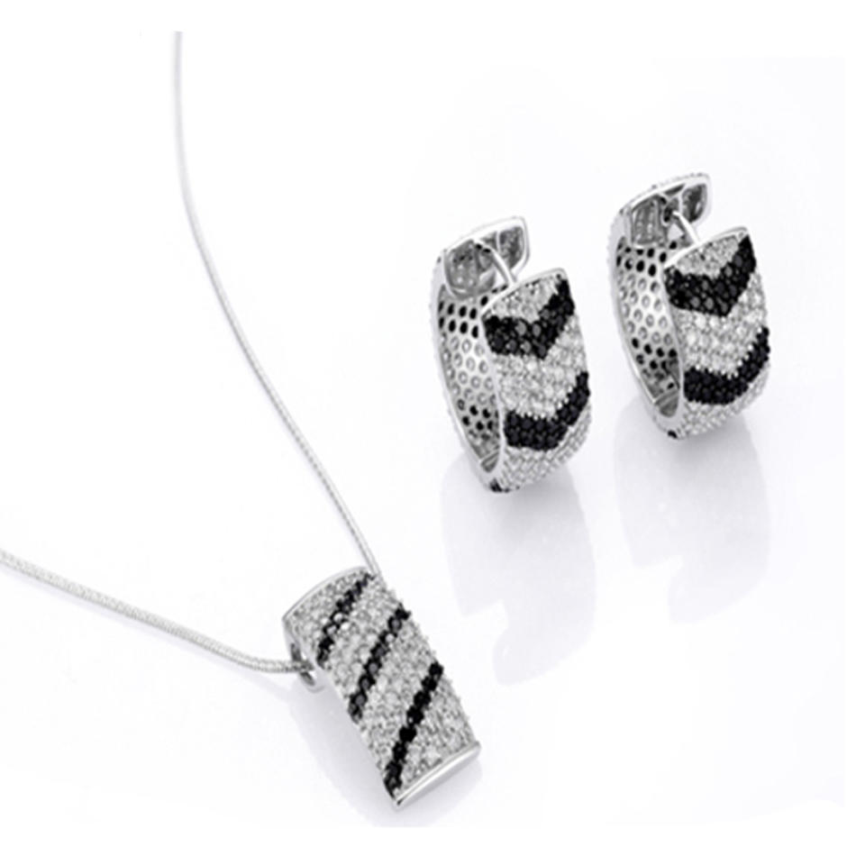 Clear and black cz silver necklaces and earing sets