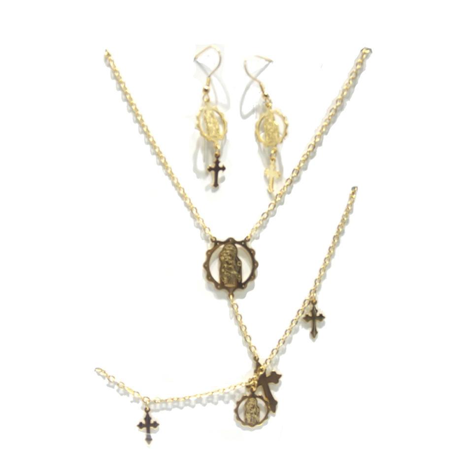 Trendy cross christian brass stylish 18k gold jewelry set