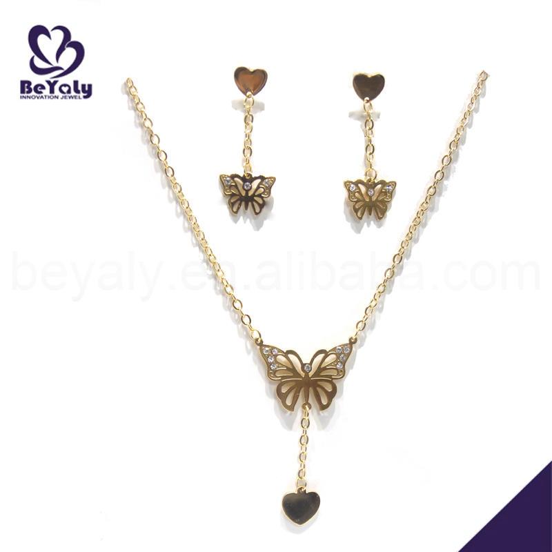 Fancy butterfly young girl earring dubai gold jewelry set