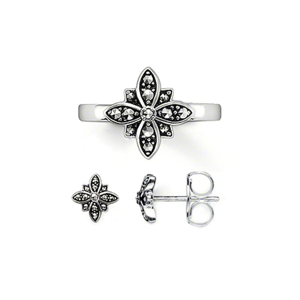 Black flower designer delicate diamond necklace set jewelry