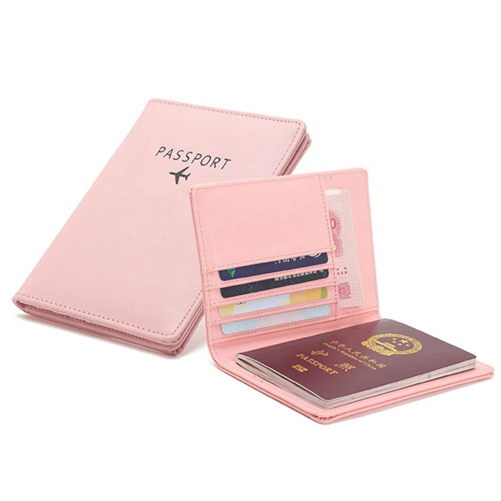Custom LOGO High Quality Unisex Passport Cover Wallets Casual pure color PU Purse Card cash Holder For Girls men card sleeves