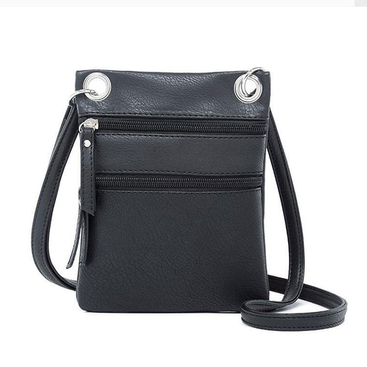 Waterproof PU Leather Mini Crossbody Bag Cell Phone Purse Wallet For Women small pure color Portable sling ladies