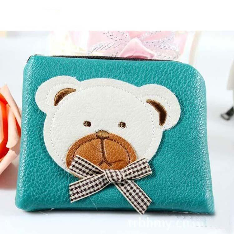 Lake blue Kids Cute PU Leather Wallets for girls Cartoon Bear coin cash money card Purses Purse with zipper for child gift 2020