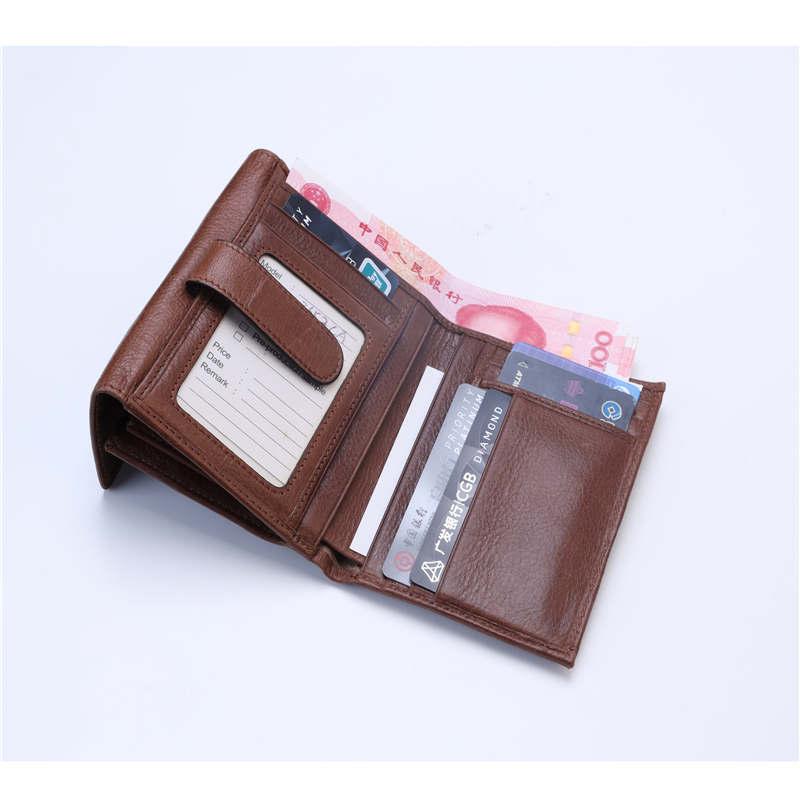 New Korean casual men's wallet Short vertical locomotive British casual multi-function card bag zipper buckle triangle folding