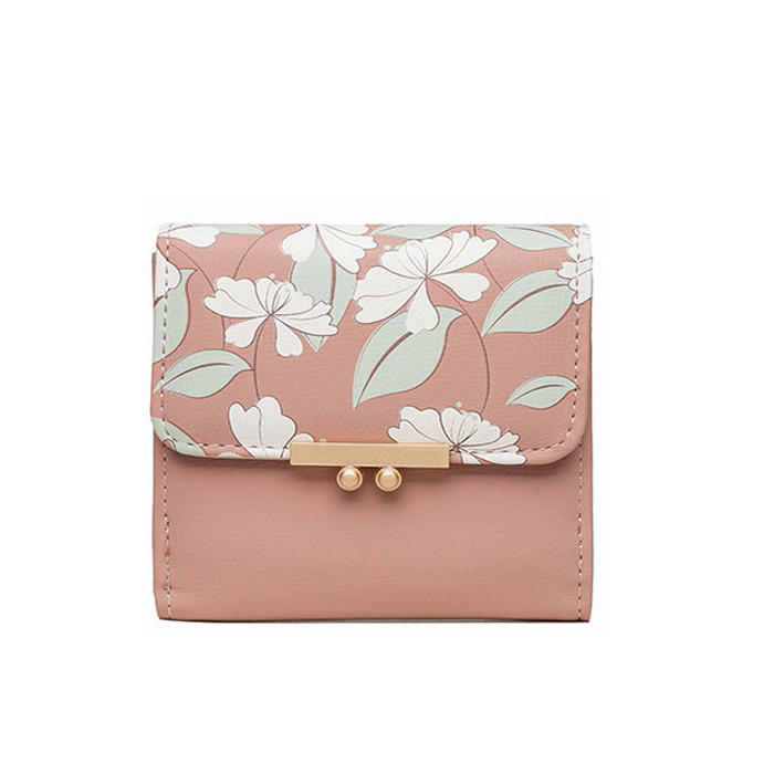 2020 fashion new hot sell Handbag Small Fresh Printed Women Short Wallet Sweet Lady PU Girl Punch Coin Wallet Card Package