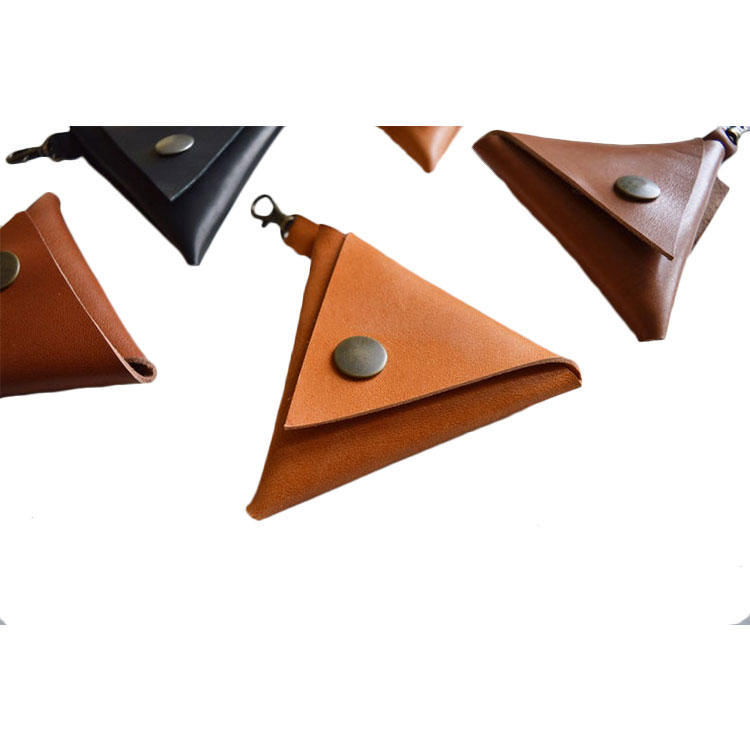 Custom Triangle leather button ladies coin purses and wallets