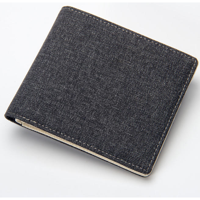 Fashion Canvas Wallet Men Solid Young Man Slim Wallets Bifold Purse Student Soft Luxury Quality Money Clip Short Style Purses
