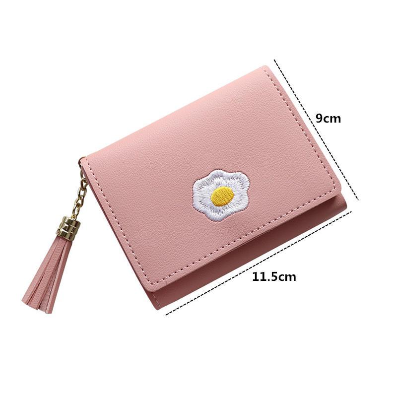 2020 1 Pc Women Cartoon Short Wallet Leather Fried Egg Cute Wallets Purse Card Holder Lady Female Fashion Short Coin Purse