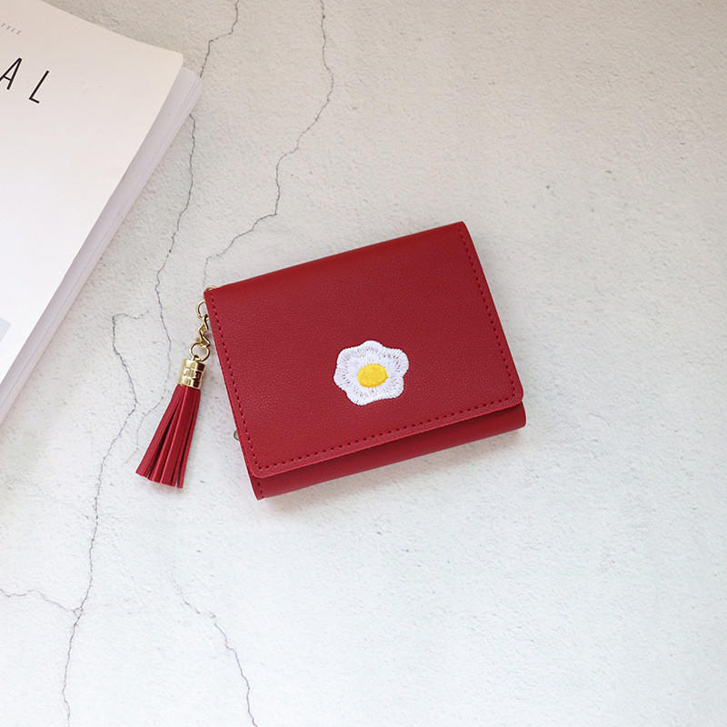 2020 1 Pc Women Cartoon Short Wallet Leather Fried Egg Cute Wallets Purse Card Holder Lady Female Fashion Short Coin Purse