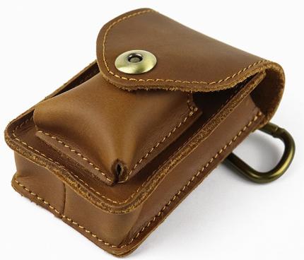 Factory Custom Leather Waist Bag Men Vintage Cowhide Small Mini Belt Waist Pack Cigarette Pouch Male Fashion Bags
