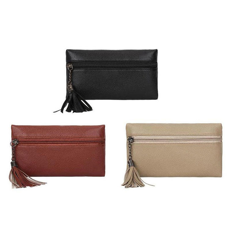 Cheap minimalist PU Leather Ladies Wallets for Women Female Cellphone Money Bag Girls tassel Clutch Card Women purses 2 ways