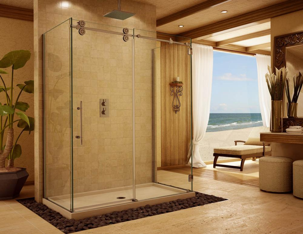 Modern bathroom sliding glass door,aluminum ready made shower room