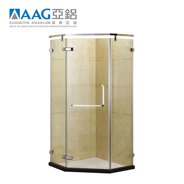 10mmTempered Glass Aluminum Powder Finish Frameless Cubicle 3 Sided Shower Enclosure