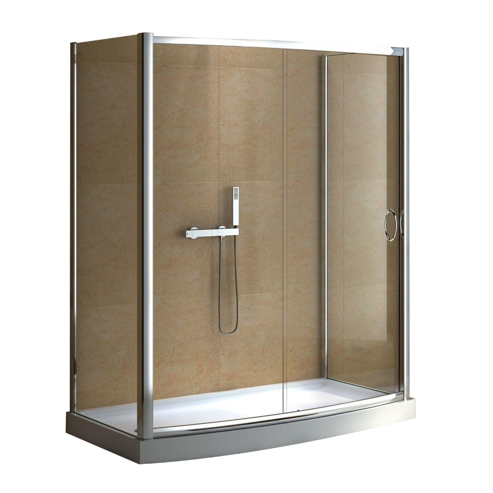 Rectangle bath shower glass enclosure with screen sliding door