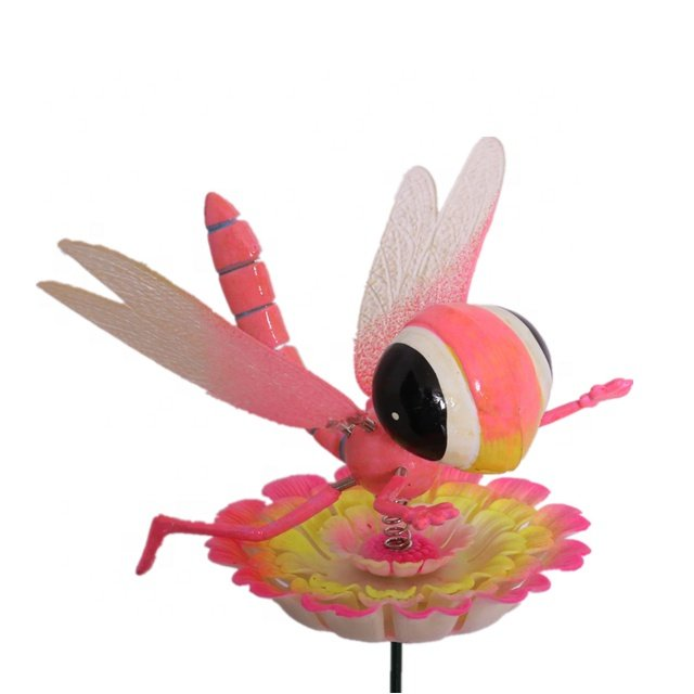 Osgoodway Hot Sale wholesale PINK Plastic Dragonfly ornament garden decorfor yard decorations