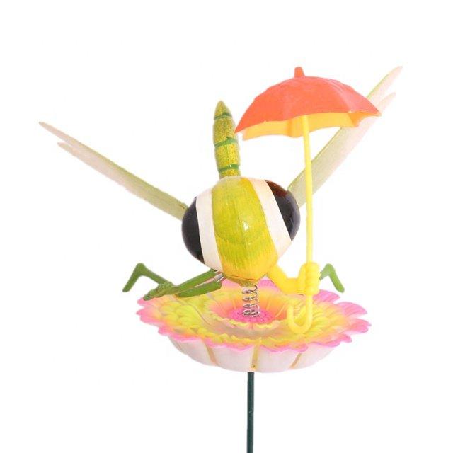 Osgoodway Hot Sale wholesaleCartoon Dragonfly with umbrella Plastic Garden Stakes garden decor