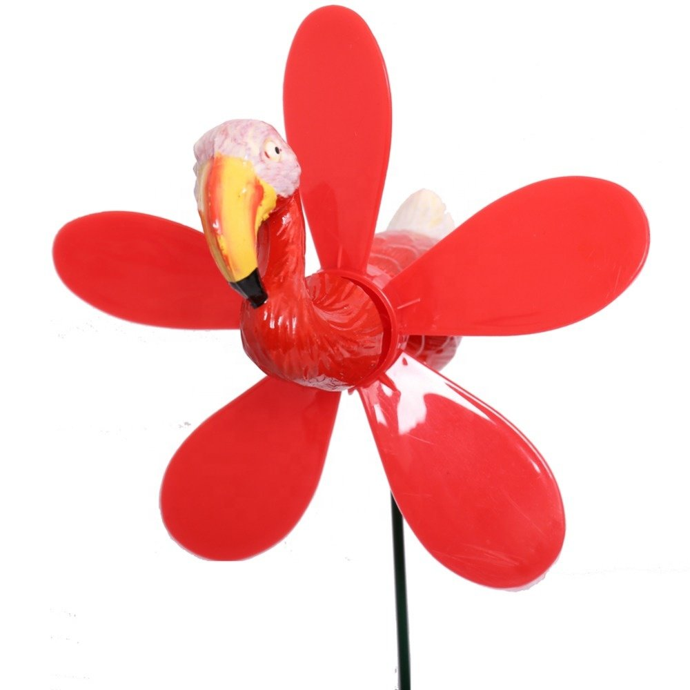 Osgoodway Hot Sale Great Price Garden Supplies Decorative Red Plastic Flamingo With Wind Spinner