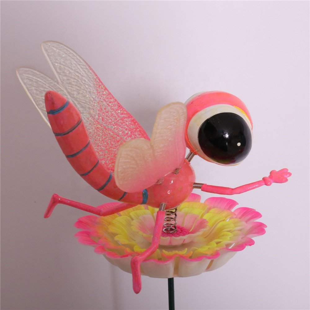 product-Osgoodway8 KL_170622 New Designsdragonfly wings Moving In Flower Plastic Insect Garden Stake-1