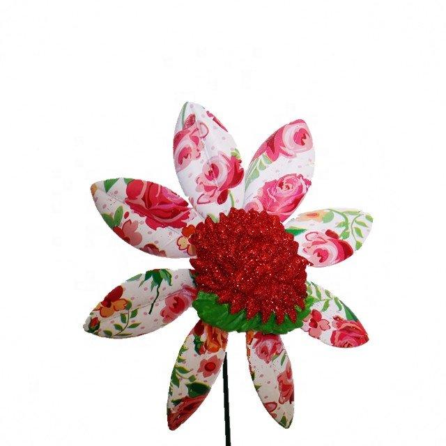 product-Osgoodway Hot Sale Garden Ornament Plastic flower model multicolor Rose windmill decor fun t-1