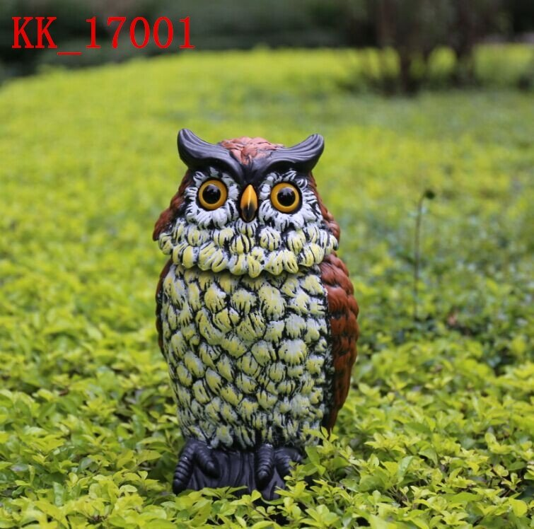 Osgoodway1 Large Realistic Plastic Night Action Owl Decoy Bird Statue Crow Scarer Scarecrow With Rotating Head