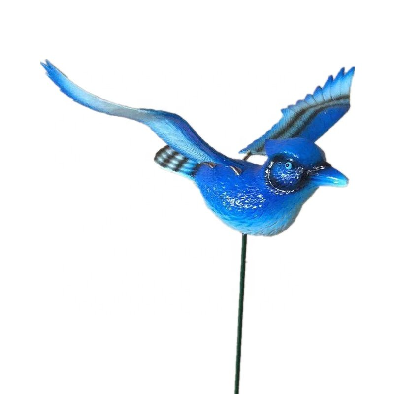 Osgoodway China Factory Wholesale Cute Metal Plastic Blue Flying BirdAnimal Toys Outdoor Garden Decoration