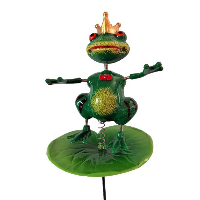 Osgoodway Wholesale CutePlastic Frog PrinceGarden Stakes Garden Decor for Yard