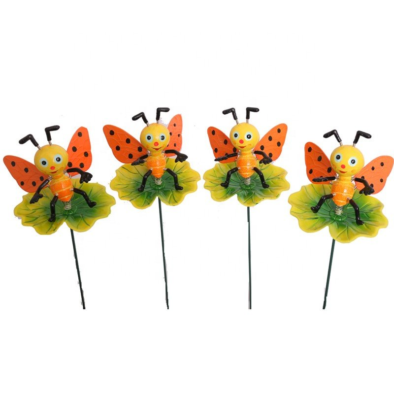 Osgoodway Hot Selling Garden ornaments Plastic Stake Bee on Lotus Leaf Cute Garden Decor with Free shipping
