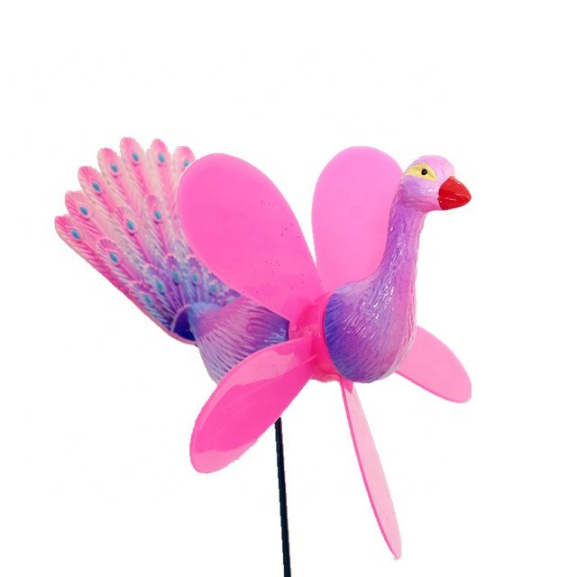 Osgoodway New Products customized garden ornament windmill multicolor Cartoon plastic peafowl ornament model bird toy fun decor