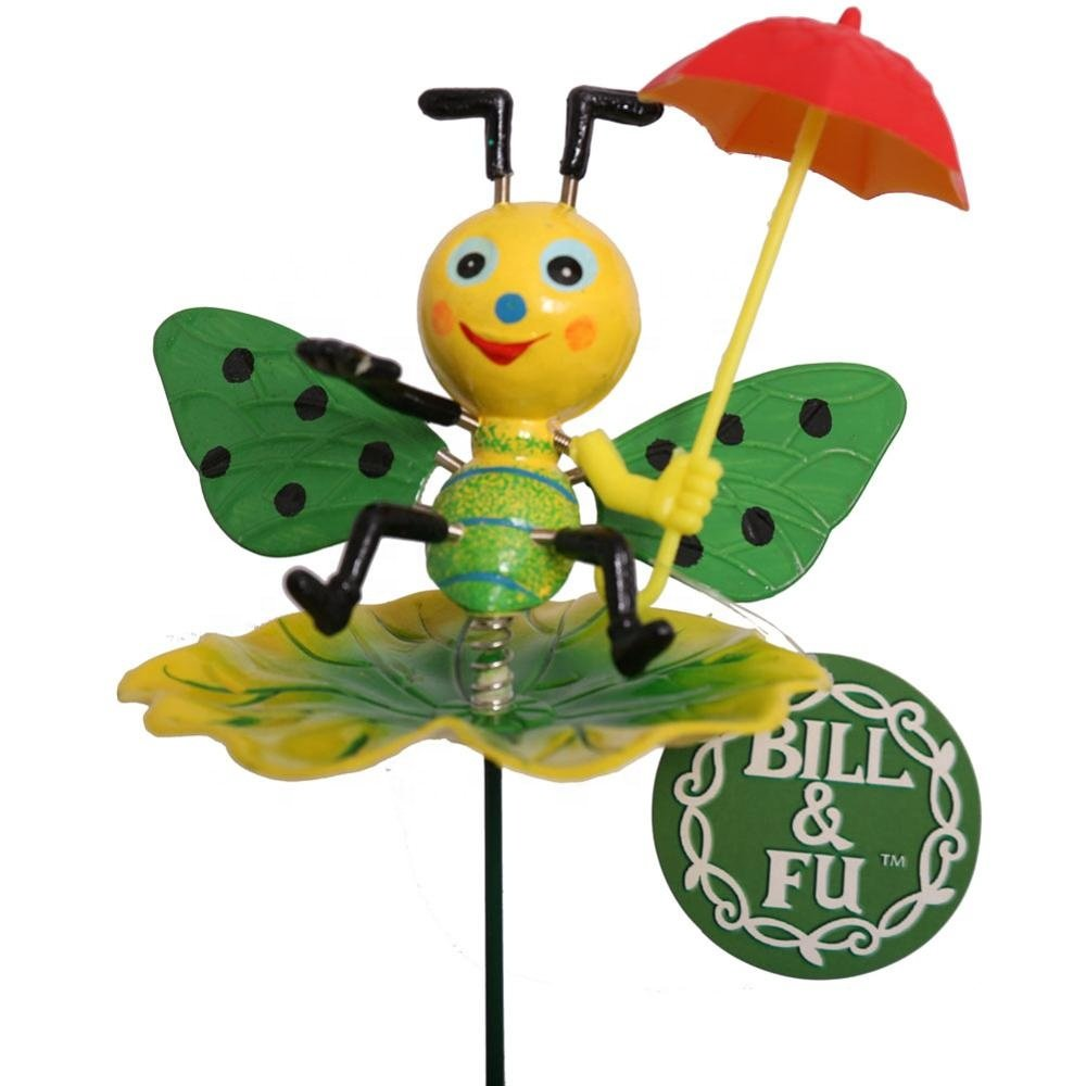 Osgoodway Newest design standard size with great priceBee with umbrella garden stakes plastic garden decoration