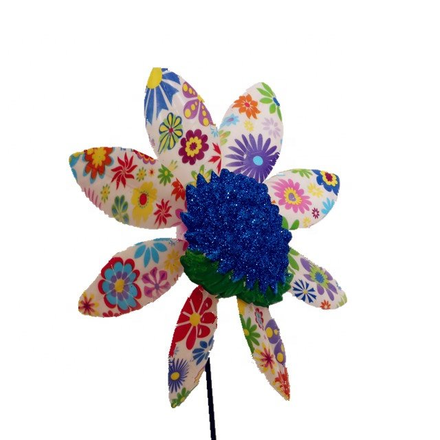 Osgoodway Hot Sale Garden Ornament Plastic flower model multicolor Rose windmill decor fun toy for Garden decoration
