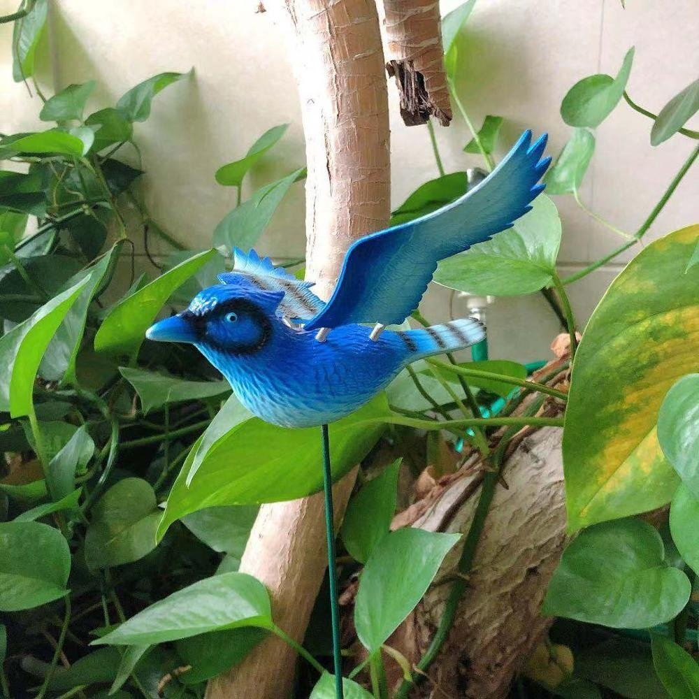 product-Osgoodway China Factory Wholesale Cute Metal Plastic Blue Flying BirdAnimal Toys Outdoor Gar-1