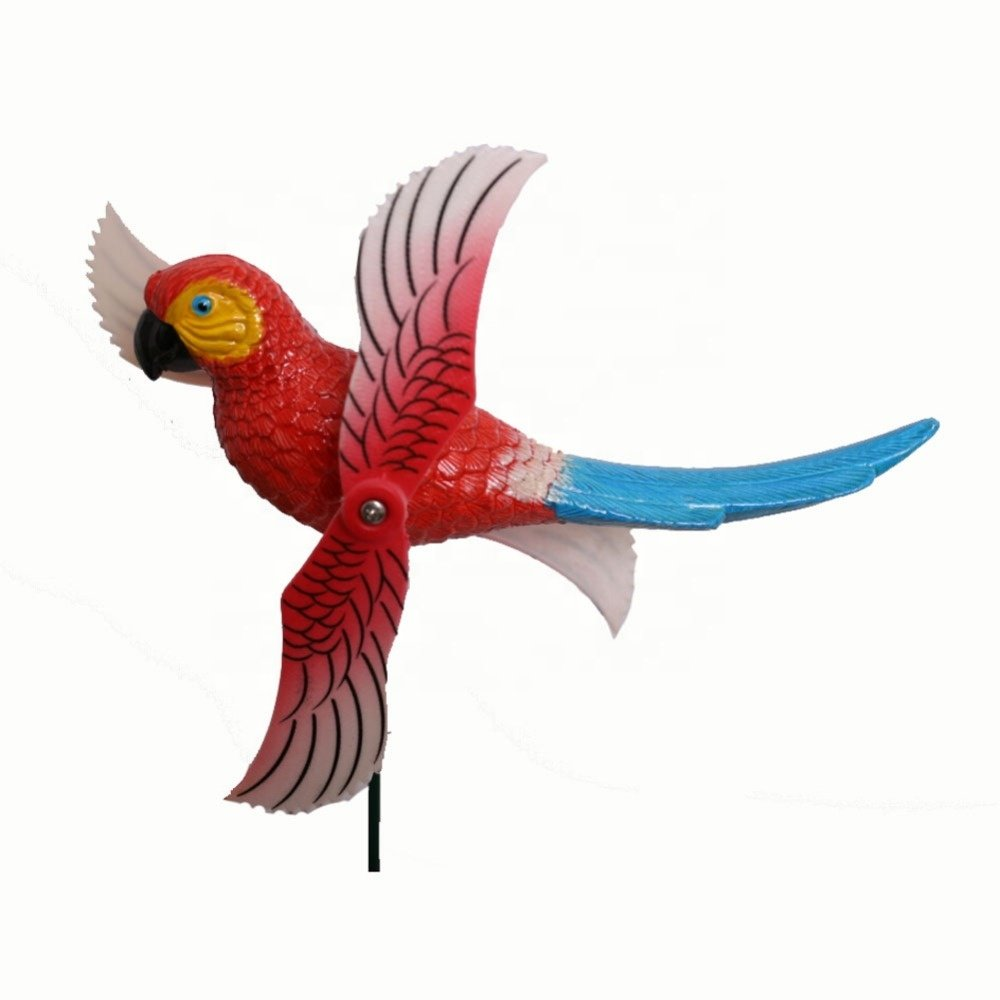 Osgoodway Wholesale Garden Ornaments Decoration Plastic Parrot Fan Stake Garden Decor For Outdoor Accessories shipping free