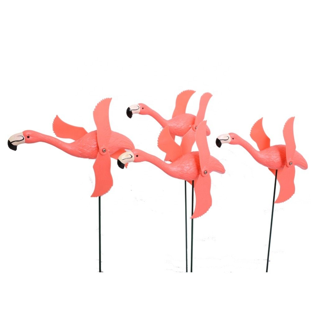 Osgoodway8 Private Design DIY Logo Great Price Garden Ornament Plastic Flamingo With 2 Windmill