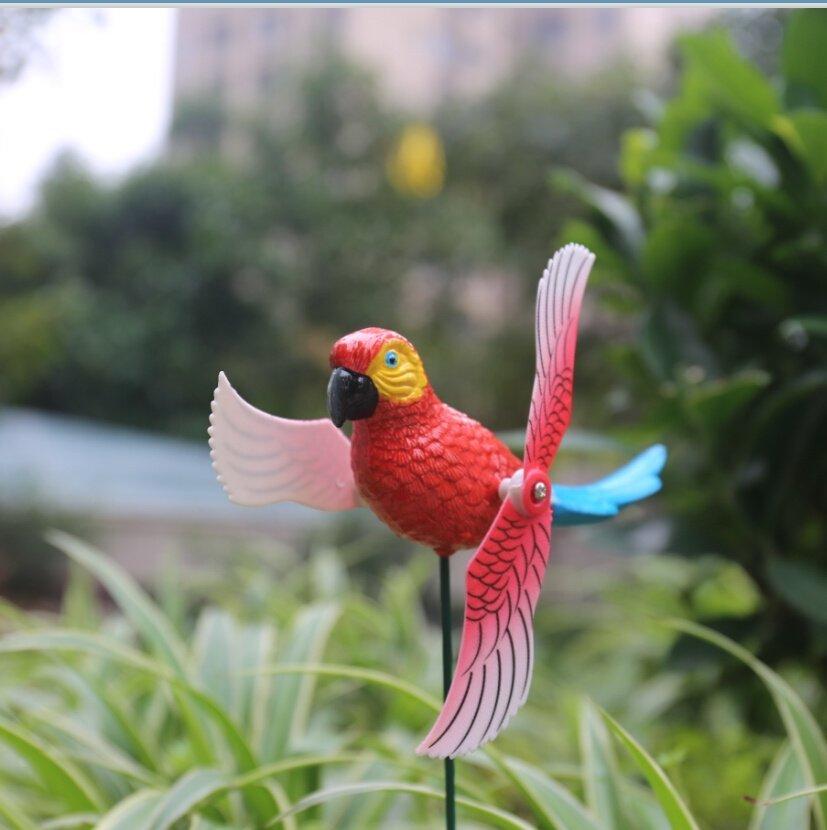 product-Osgoodway-Osgoodway Wholesale Garden Ornaments Decoration Plastic Parrot Fan Stake Garden De